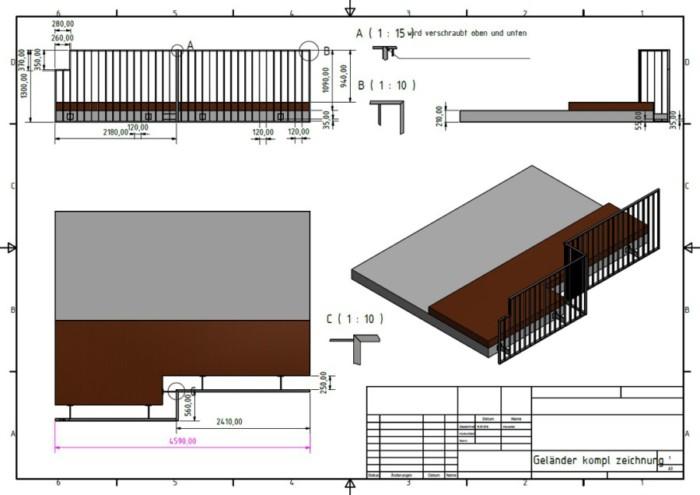 Metallbau Neb Heilbronn 3D CAD Zeichnung Gelaender
