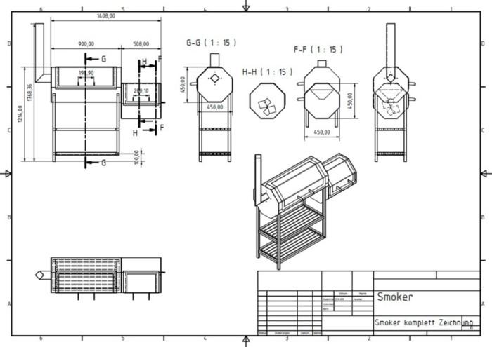 Metallbau Neb Heilbronn 3D CAD Zeichnung Smoker