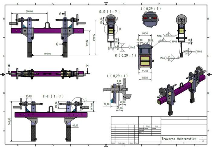 Metallbau Neb Heilbronn 3D CAD Zeichnung Traverse