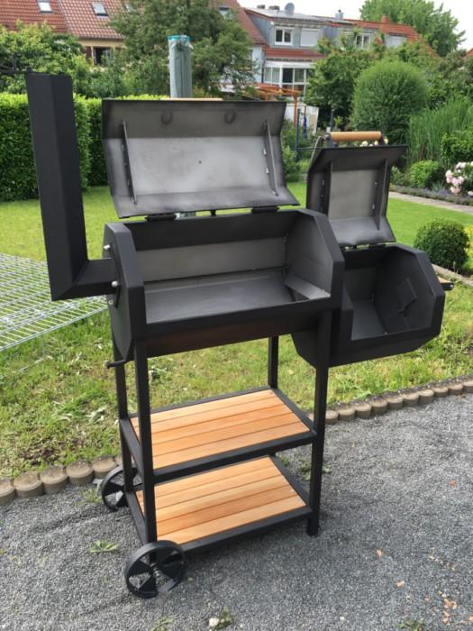 Metallbau Neb Heilbronn Grill Smoker Stahl Gepulvert Schwarz Holz